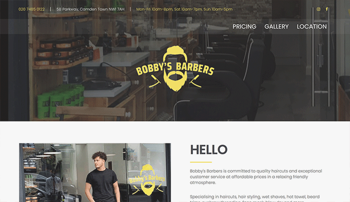 barber website designer london