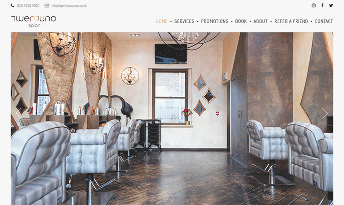 salon website designer london